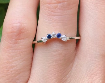 Sapphire Curve Wedding Band- Blue and White Sapphire Woman V Wedding Band- Contour Chevron Stackable Ring- September Birthstone Band