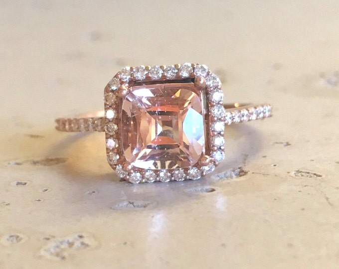 Square Morganite Engagement Ring- Rose Gold Morganite Ring- Halo Cushion Promise Ring- Pink Gemstone Engagement Ring- Classic Morganite Ring