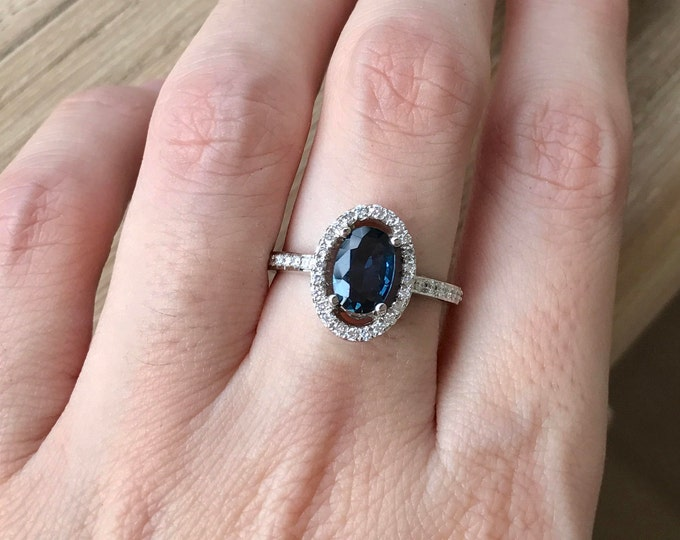 Blue Sapphire Oval Engagement Ring- 1 Carat Halo Sapphire Ring- Genuine Dark Blue Sapphire Ring- White Gold Ring-September Birthstone Ring-