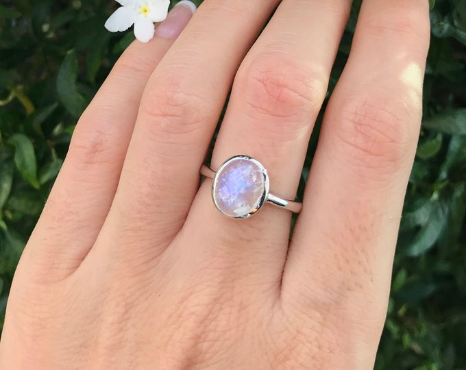Rose Cut Oval Moonstone Ring- Rainbow Moonstone Silver Ring- Solitaire June Birthstone Ring- Sterling Silver Ring-Jewelry Gift