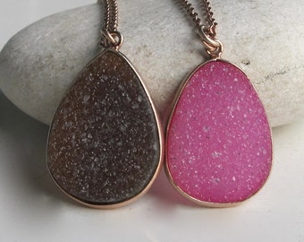 Pink Druzy Rose Gold Necklaces- Tear Drop Simple Druzy Necklace- Rough Stone Raw Jewelry