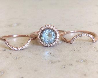 Round Aquamarine Engagement Ring- Rose Gold Aquamarine Engagement Ring Set- Aquamarine 3 Piece Bridal Set Ring- Aquamarine Halo Diamond Ring