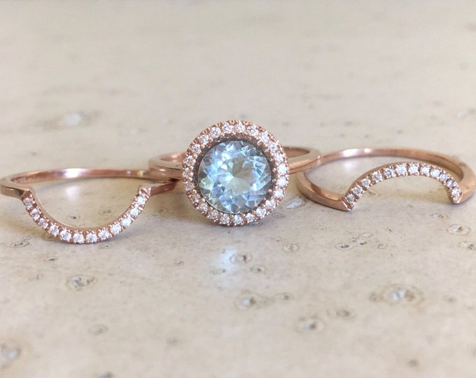Round Aquamarine Engagement Ring- Rose Gold Aquamarine Engagement Ring Set- Aquamarine 3 Piece Bridal Set Ring- Aquamarine Halo Diamond Ring