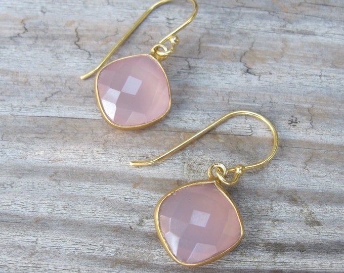 Pink Chalcedony Square Dangle Gold Earring- Rose Quartz Drop Earring- Pink Stone Simple Earring- Bridesmaids Earring