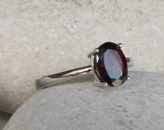 Natural Garnet Ring Oval Prong Silver Stack Red Gemstone