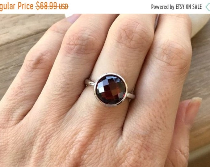 40% OFF SALE Round Garnet Solitaire Ring- January Birthstone Ring- Red Gemstone Ring- Simple Red Ring- Jewelry Gifts for Her- Sterling Silve