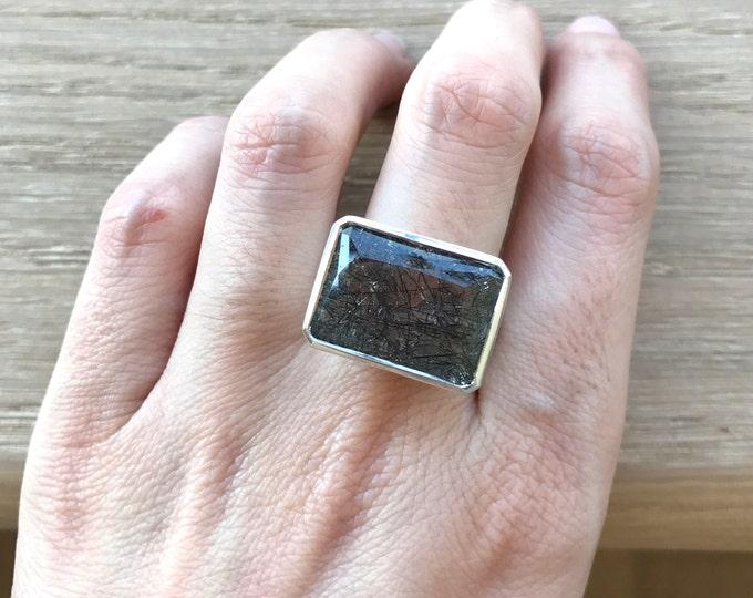 Tourmalated Quartz Statement Ring- Black Rutile Quartz Ring-Black Gemstone Solitaire Ring-Rectangle Shape Ring-Sterling Silver Gemstone Ring