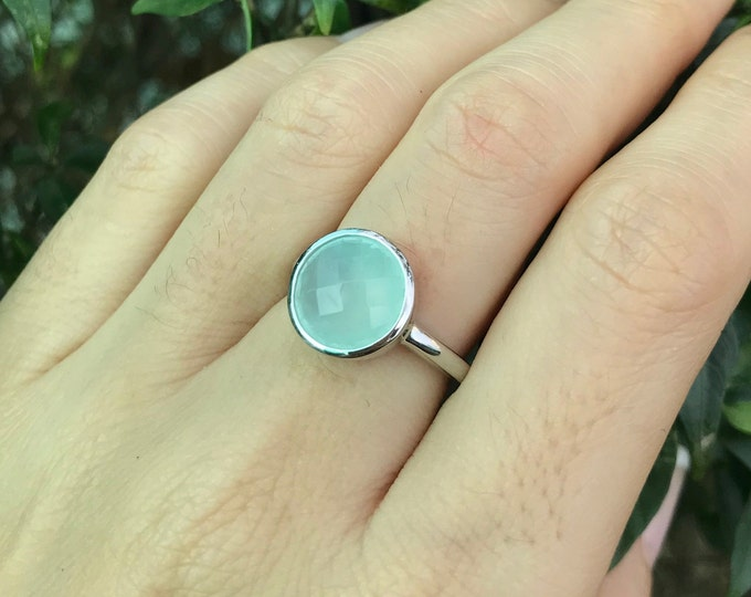Blue Chalcedony Round Silver Ring- Light Milky Blue Something Ring- Mint Onyx Simple Blue Ring- Solitaire Aquamarine Gemstone Ring