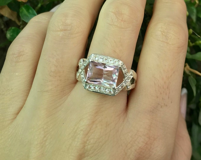 Emerald Cut Rectangle Morganite Deco Ring- Purple Pink Morganite Double Shank Solitaire Ring- Morganite Engagement Ring