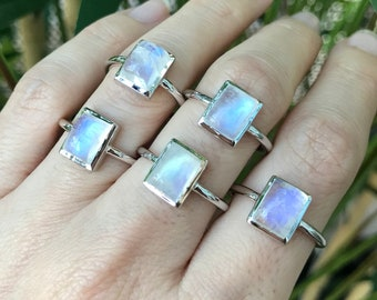 Rectangle Moonstone Ring- Stackable Rainbow Moonstone Ring- Emerald Moonstone Boho  Ring- June Birthstone Ring- Sterling Minimalist Ring