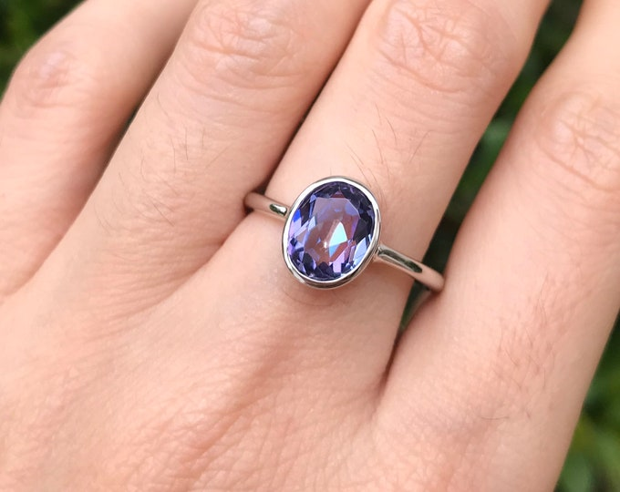 Oval Mystic Topaz Ring- Stackable Blue Purple Topaz Ring- Neptune Garden Topaz Ring- Sterling Silver Stone Ring- Jewelry Gifts for Her