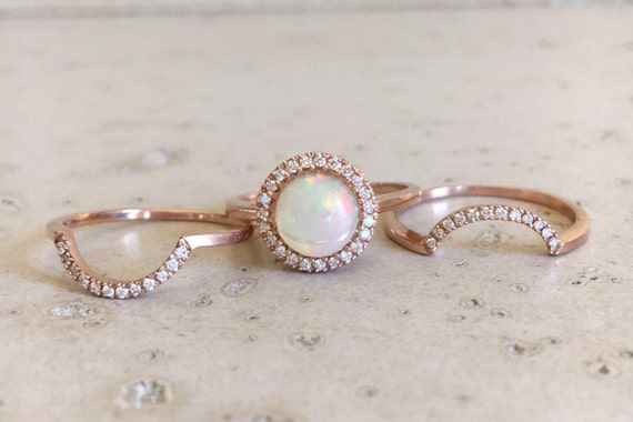 Round Halo Opal Engagement Ring Rose Gold Opal Diamond Ring