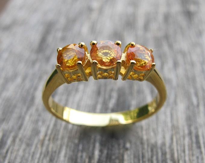 Yellow Sapphire Anniversary Ring- Three Stone Engagement Ring- Sapphire Promise Ring- September Birthstone Ring- Alternative Engagement Ring