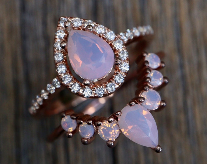 Teardrop Opal Bridal Ring Set- Pear Pink Opal Engagement 2 Ring Set- Fire Opal Iridescent Halo Ring w/ Wedding Band
