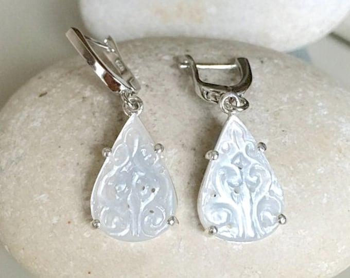 White Moonstone Wedding Bridal Earring- Pear Shape Earring- June Birthstone Earring- Engagement Moonstone Earring- Unique Classic Earring