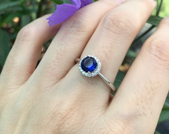 Round Blue Sapphire Promise Ring for Her- Dainty Halo Sapphire Sterling Silver Ring- Blue Stone Anniversary Ring- September Birthstone Ring