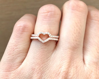 Rose Gold Heart Band- Valentine Heart Ring- Heart Promise Band- Heart Engagement Band Set- Gifts for Wife- Woman Jewelry Gift Girlfriend