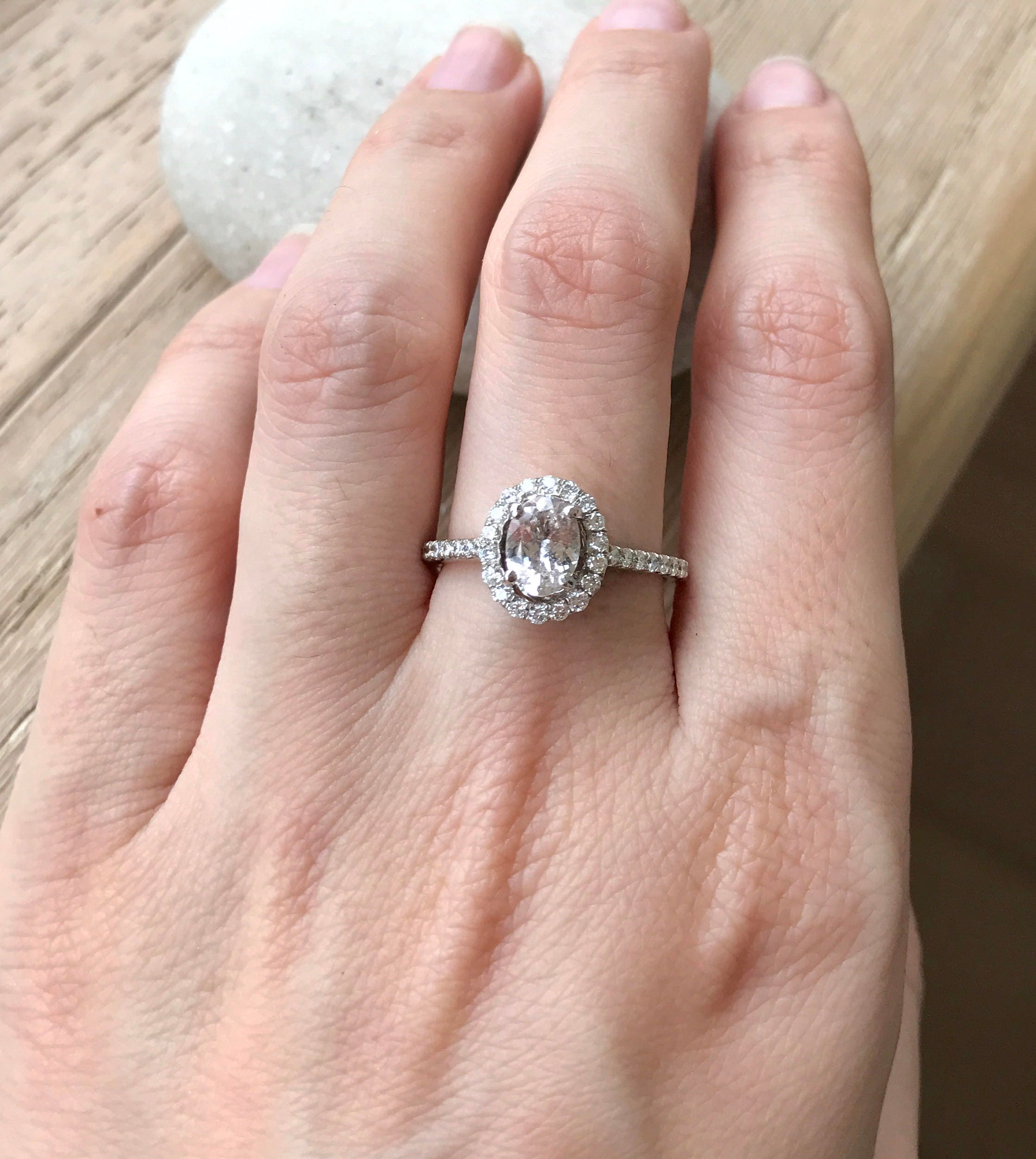 Peach Sapphire Engagement Ring- Halo Sapphire Promise Ring- 1 Carat ...