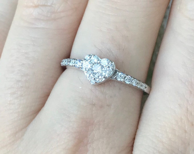 Heart Diamond Promise Ring-Valentine's Day Gift For Her Wife Girlfriend-Heart Shaped White Gold Ring-Heart Personalize Custom Engraving Ring