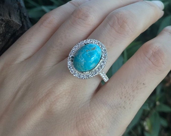 6.07ct Halo Turquoise Large Engagement Women Ring-Oval Turquoise Promise Ring for Her-Statement Solitaire Turquoise Anniversary Ring
