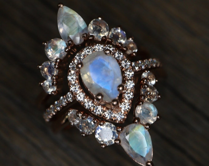 Teardrop Moonstone Bridal Three Ring Set- Pear Natural Moonstone Engagement Ring Set- Genuine Moonstone Halo Ring w/2 Moonstone Wedding Band