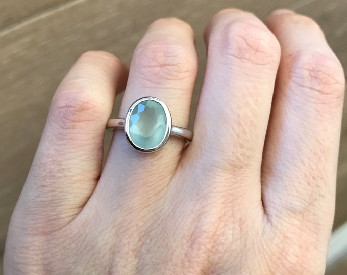 Simple Genuine Aquamarine Oval Ring- Natural Aquamarine Ring- March Birthstone Ring- Blue Solitaire Ring- Aqua Stone Sterling Silver Ring
