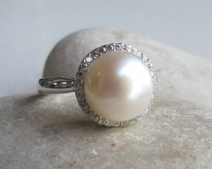 Halo Pearl Engagement Ring- Round Freshwater Pearl Promise Ring- Genuine Natural Real Pearl Ring- June Birthstone Ring- White Gemstone Ring