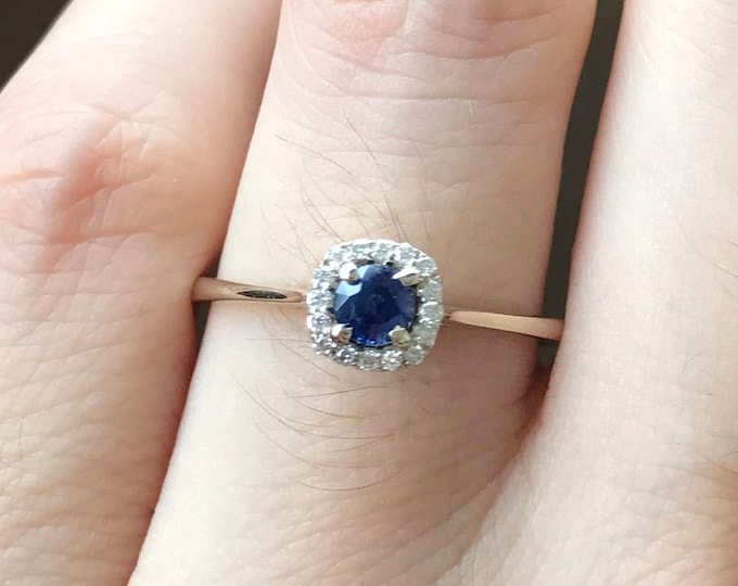 Dainty 0.21ct Blue Sapphire Promise Ring for Her- Dark Blue Sapphire Engagement 18k White Gold Ring- Halo Genuine Sapphire Anniversary Ring