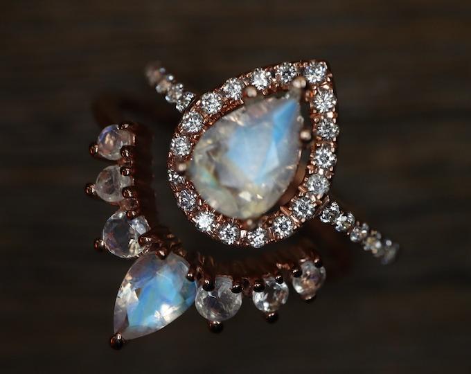 Teardrop Moonstone Bridal Ring Set- Pear Natural Moonstone Engagement 2 Ring Set-Genuine Moonstone Halo with Moonstone Wedding Band