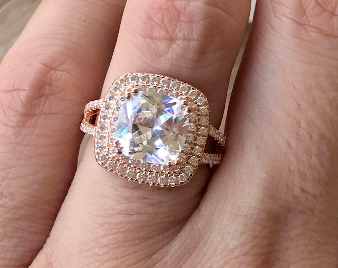 3.80ct Diamond Colorless Halo Engagement Ring- Square Diamond Simulant Double Band Ring- Rose Gold Promise Ring For Her-Large Solitaire Ring