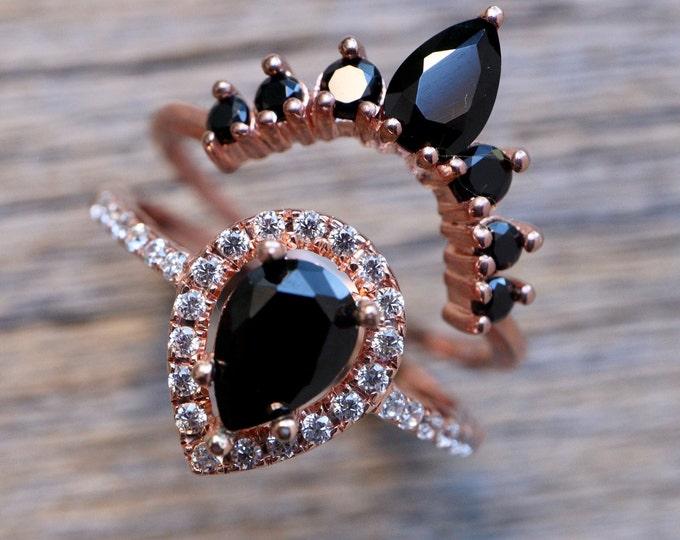 Teardrop Black Onyx Bridal Ring Set- Pear Black Diamond Alternative Engagement 2 Ring Set- Black Halo Ring with Wedding Band