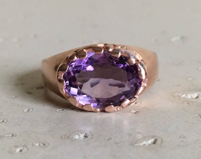 Purple Amethyst Oval Solitaire Ring- Rose Gold Amethyst Statement Ring- Oval East West Ring- February Birthstone Ring- Purple Gemstone Ring