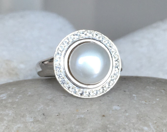 Real Pearl Engagement Ring- Genuine Freshwater Pearl Ring- Halo Natural Pearl Engagement Ring- Gemstone Engagement Ring June Birthstone Ring