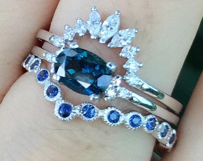 0.90ct Dark Blue Sapphire Engagement 3 Piece Ring Set- Genuine Oval Sapphire Bridal Ring Set- Sapphire w/ Diamond White Gold Ring w/ 2 Band