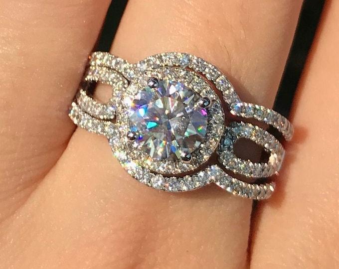 1ct Moissanite Halo Split Engagement Ring Set- Round Moissanite 3 Piece Bridal Ring-Colorless NonDiamond Engagement Ring 2 Wedding Band