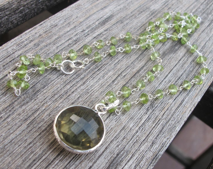 Round Green Amethyst Peridot Beaded Necklace- Genuine Natural August Birthstone Necklace- Dainty Green Gemstone Necklace