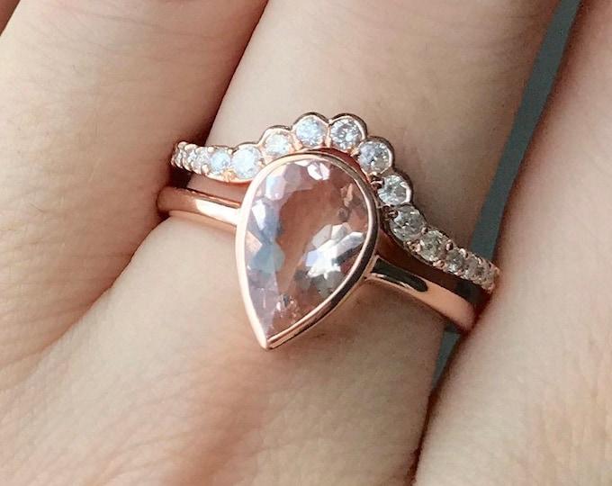 Vintage Genuine Morganite Rose Gold Engagement Ring Set- Teardrop Natural Morganite Bridal Ring Set -Pear Morganite Diamond Wedding 2 Rings