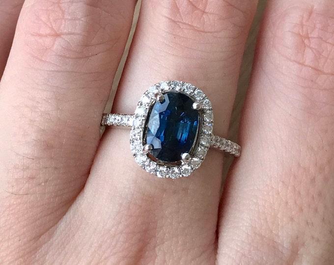 Certified 1.73ct Blue Sapphire Elongated Oval Engagement Ring- Genuine Dark Blue Sapphire White Gold Ring- Sapphire Diamond Anniversary Ring