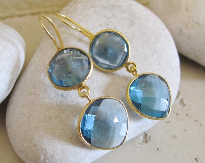 London Blue Topaz Earring- Double Drop Dangle Earring- Blue Quartz Twos Stone Earring- Long Blue Earring- December Birthstone Earring
