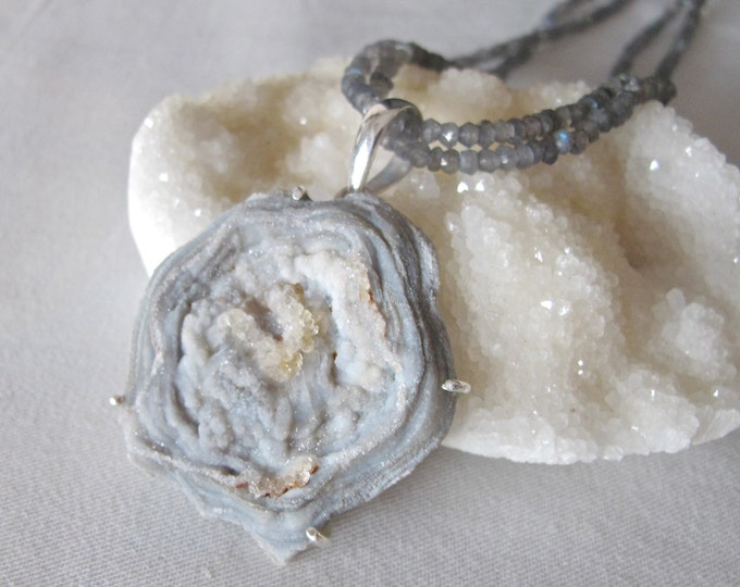 Druzy Necklace Large Rough Raw Natural Boho Statement Necklace Geode