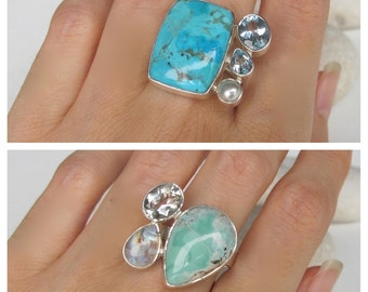 Boho Ring Turquoise Genuine Natural Cluster Mulitstone Ring Sterling Silver Solitaire Statement December Birthstone