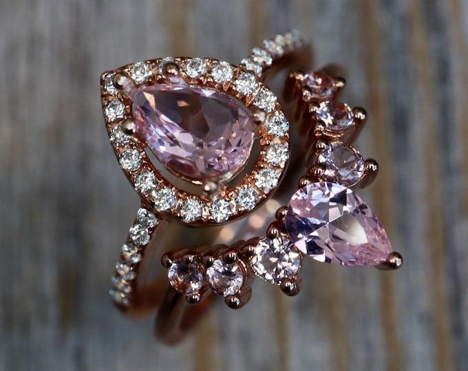 Teardrop Pink Morganite Bridal Ring Set- Pear Pink Gemstone Engagement 2 Ring Set- Pink Halo Ring with Wedding Band