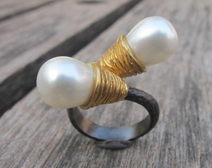 Real Pearl Statement Rustic Ring- Large Dual Pearl Ring- Genuine Pearl Ring- Natural Freshwater Pearl Ring- June Birthstone Ring