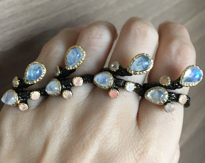 Multistone Opal Moonstone Statement Ring- Tree Branch Inspired Ring- Black Rhodium Statement Ring- Unique Gemstone Sterling Silver Ring