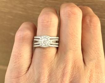 Classic Bridal Set Ring- Diamond Engagement Ring Set- Round Halo Wedding Set Ring- Matching Band Engagement Ring- Rose Gold Ring