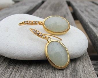 Light Green Sapphire Earrings- Sapphire Earrings- Dangle Drop Gold Earrings- Green Sapphire Earrings- September Birthstone Earrings