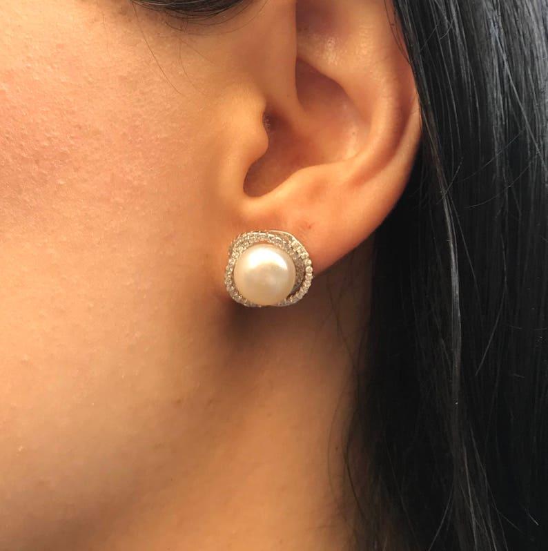 b98922f6a Genuine Pearl Stud Earring Halo Natural Pearl Swirl Earring | Etsy