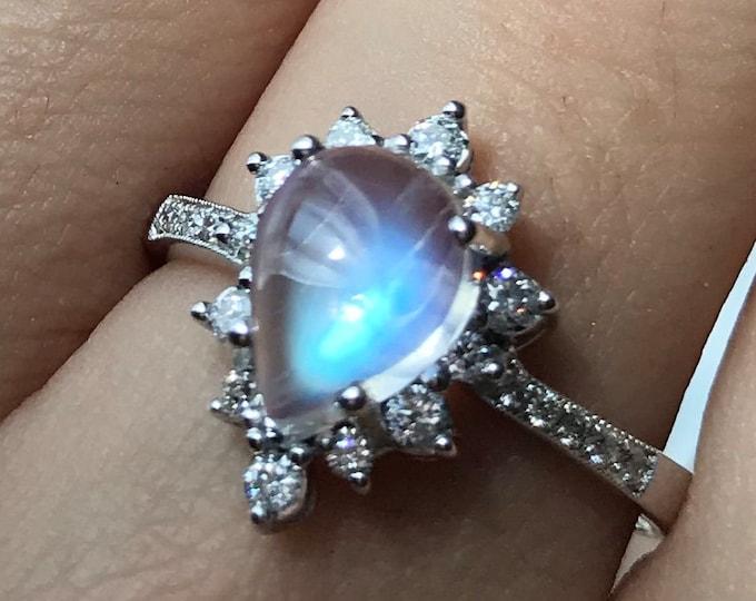 1.62ct Moonstone Celestial Teardrop Engagement Ring- Moonstone Diamond Halo 14k White Gold Promise Ring- Cabochon Moonstone Gold Ring