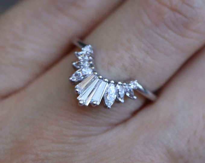 Art Deco Contour Diamond Wedding Band- Baguette Marquise Genuine Diamond Band- Nesting Diamond Stackable Ring- Customizable Wedding Band
