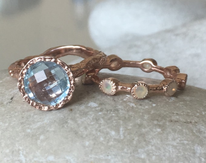 Blue Topaz Bridal Rose Gold Ring Set- Blue Topaz Opal Engagement Ring Set- Blue Topaz w/ Opal Wedding Band- Blue Gemstone Engagement Ring